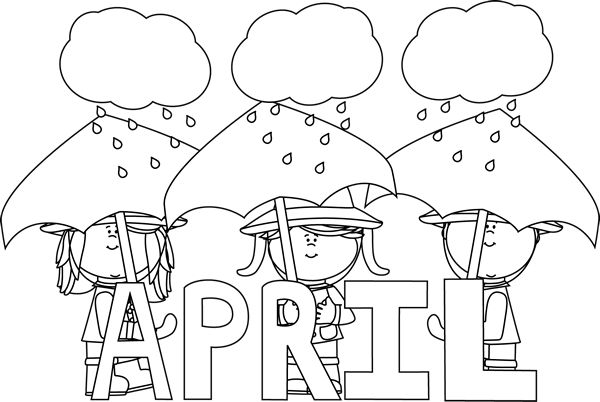 April clipart black and white.  collection of high