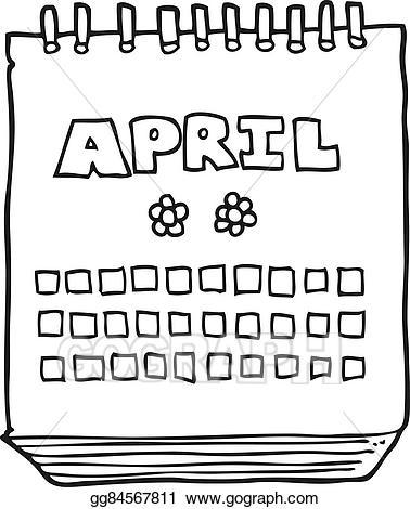 Vector art cartoon calendar. April clipart black and white
