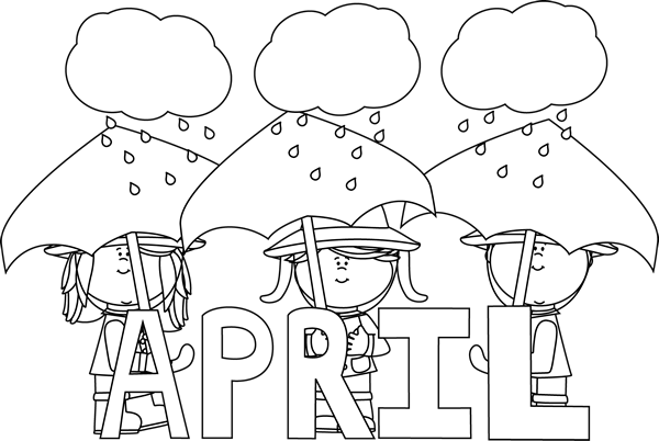 Month of showers abc. April clipart black and white