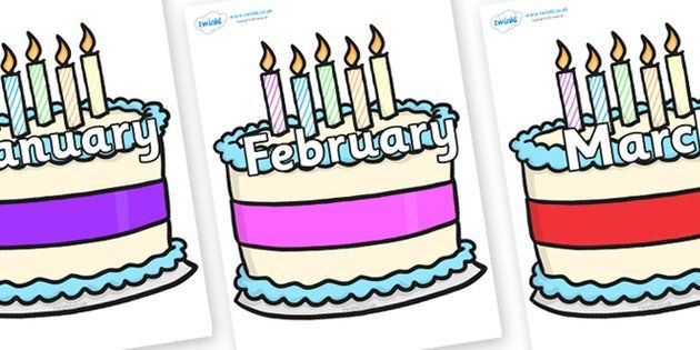 Months of the year. April clipart cake