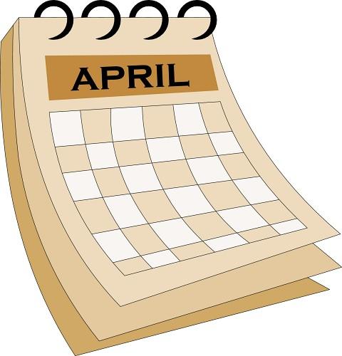 Free clipartix. Calendar clipart april