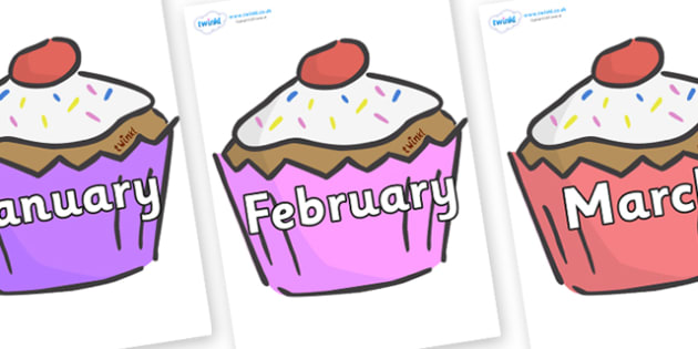 April clipart cupcake. Months of the year