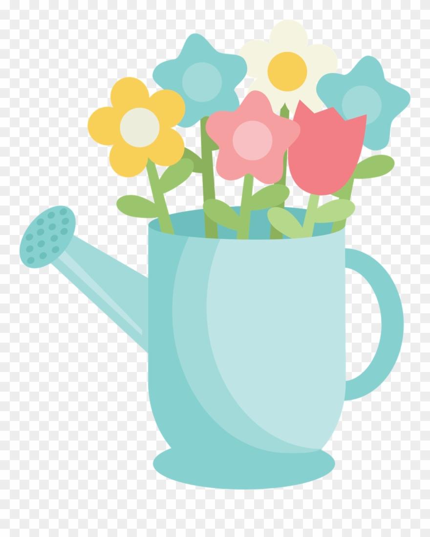 Saturday watering can cartoon. April clipart cute