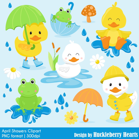 Frog spring showers . April clipart duck