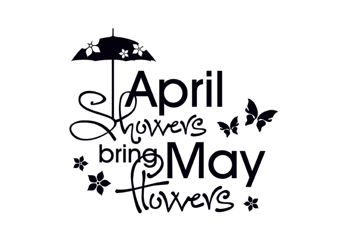 April clipart may. Flowers clip art black