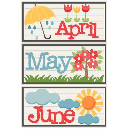 June titles svg scrapbook. April clipart may