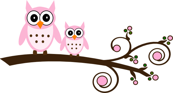 April clipart owl. Pink on branch clip
