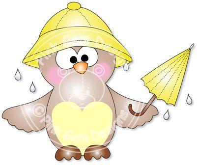 Showers digi stamp click. April clipart owl