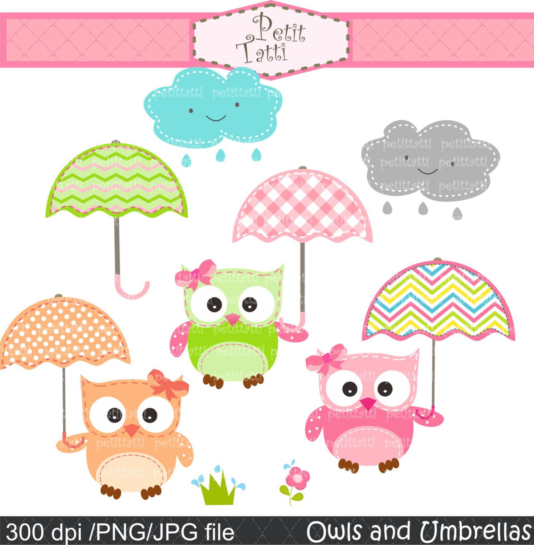 With umbrella . April clipart owl