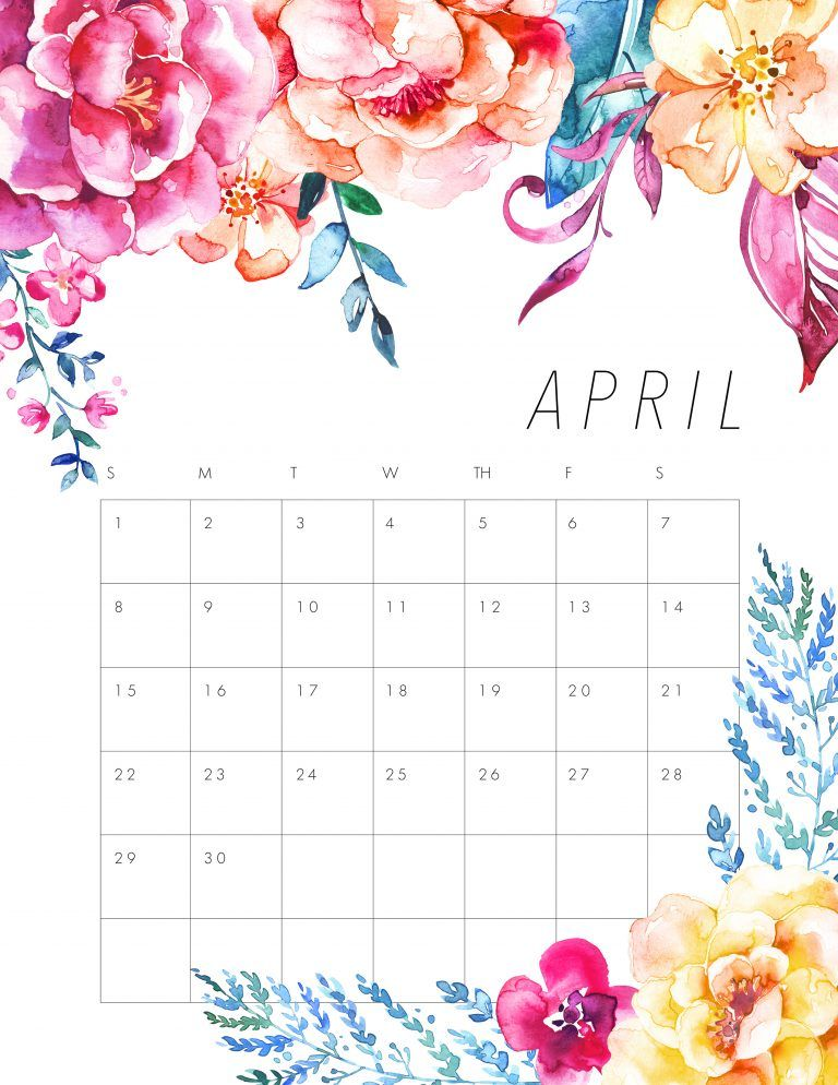 April clipart pretty flower. Free printable floral calendar