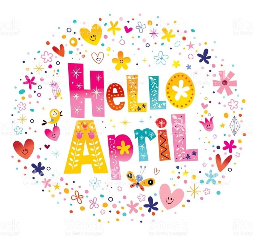 Hello calendar template for. April clipart printable