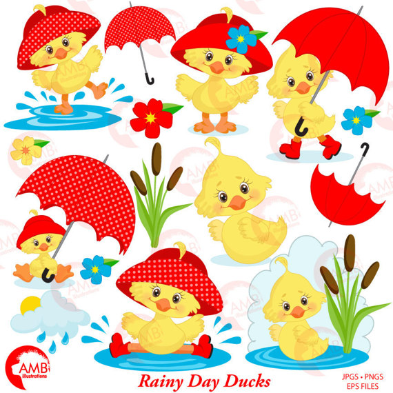Duck umbrella showers. April clipart spring