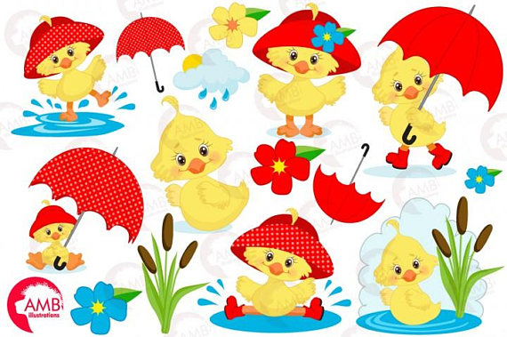 Cilpart excellent duck umbrella. April clipart spring