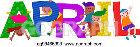 April clipart text. Stock illustration happy kids