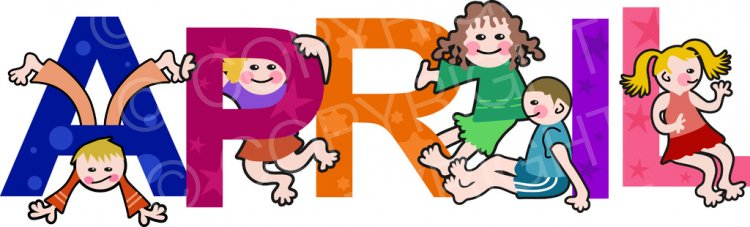 April clipart text. Kids months of the