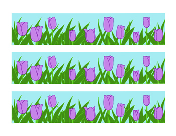 Purple bulletin board border. April clipart tulip