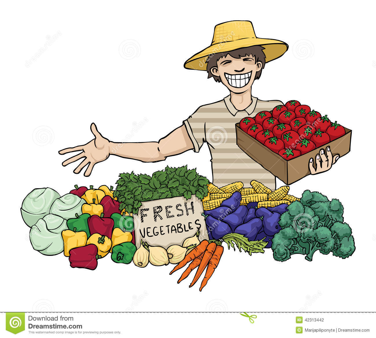 Vegetable station . Cashier clipart vendor