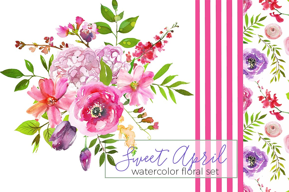 Sweet flowers illustrations creative. April clipart watercolor