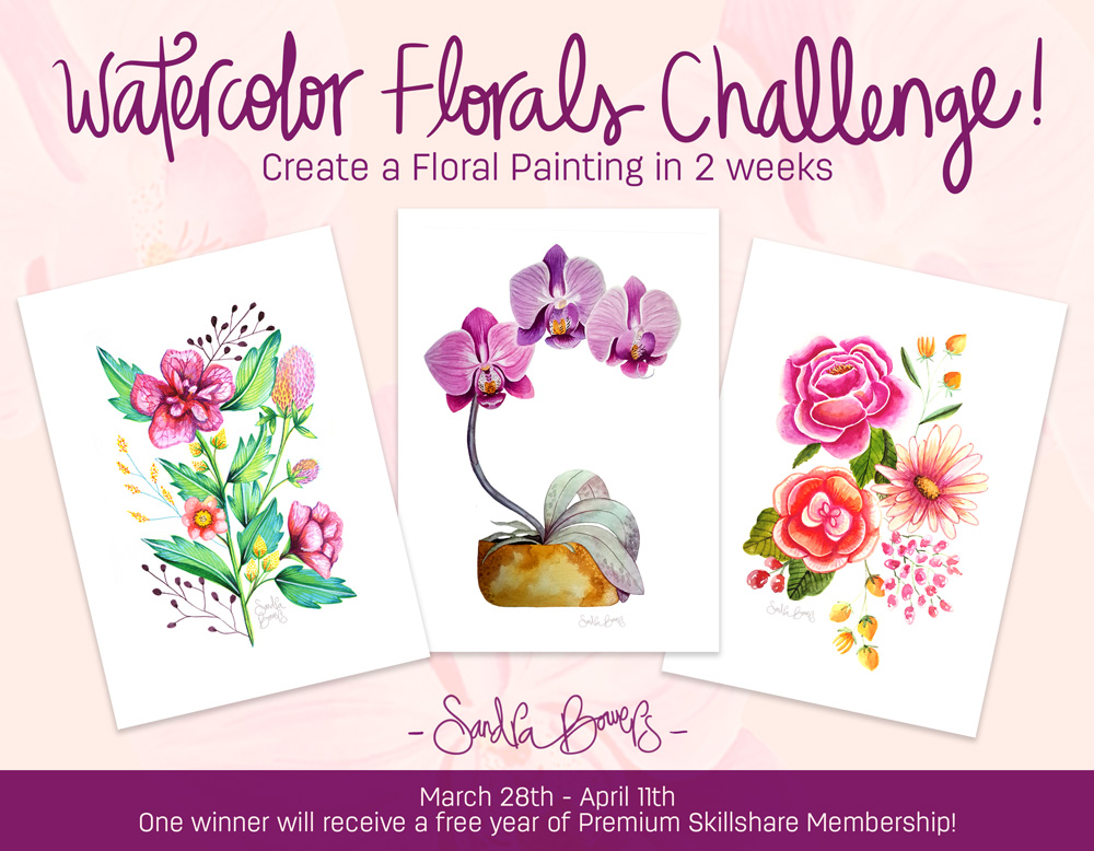 April clipart watercolor. New florals challenge sandra