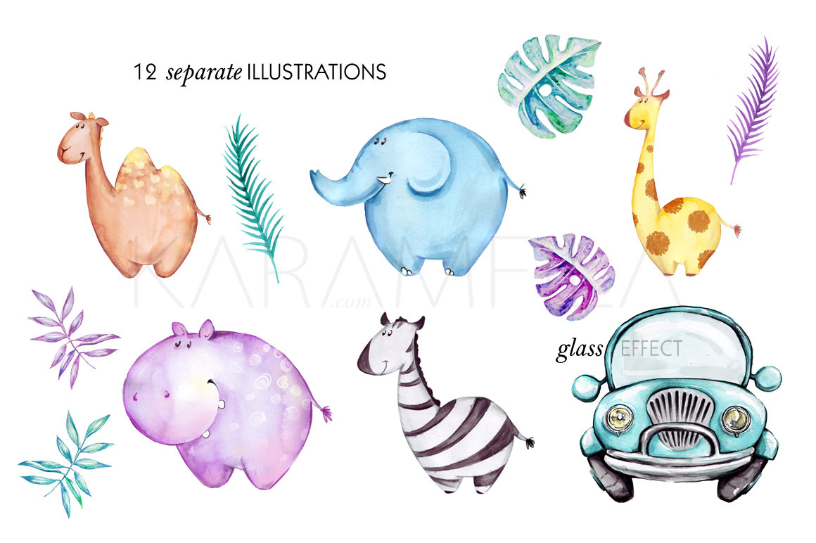Giraffe cute baby safari. April clipart watercolor
