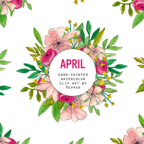 April clipart watercolor. Instant download flowers set