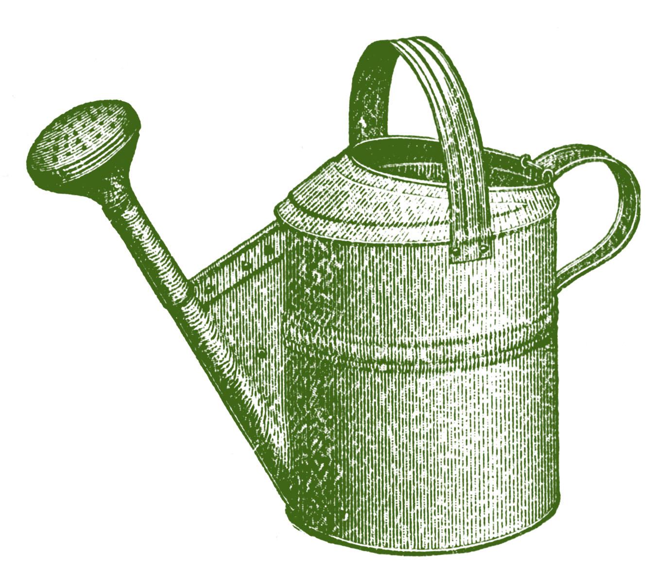 Vintage garden clip art. April clipart watering can