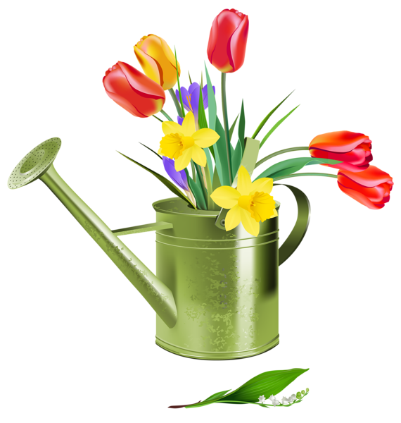 Green watering can with. Gate clipart flower cart