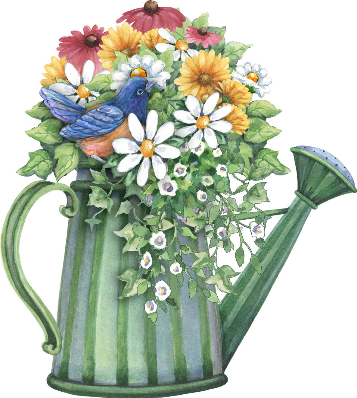 Watering can full of. Gardening clipart flower cart