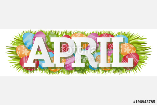April clipart word. Single easter eggs banner