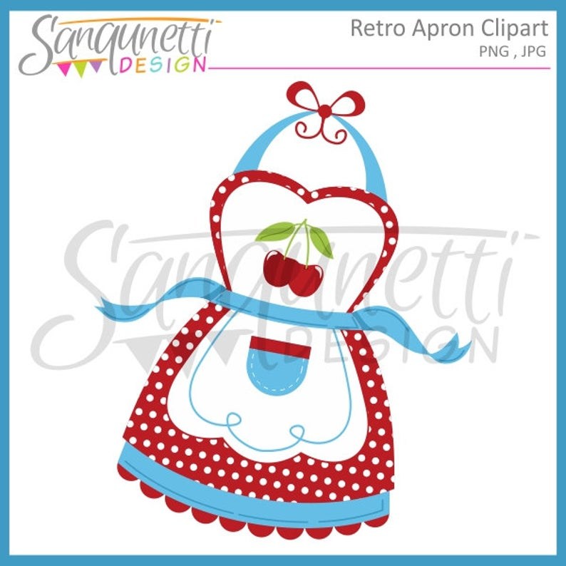 Apron clipart. Cherry kitchen retro instant