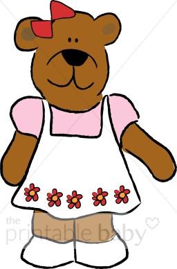 Apron clipart baby. Teddy bear girl