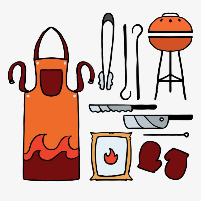 Vector bbq tool png. Apron clipart barbecue