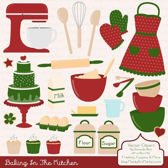 Professional baking vectors kitchen. Apron clipart christmas