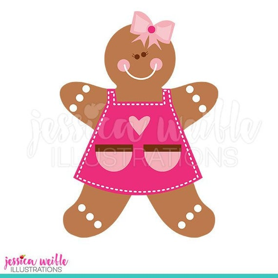 Gingerbread girl in cute. Apron clipart christmas
