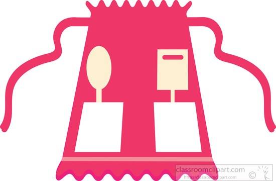 Red with ruffles half. Apron clipart culinary