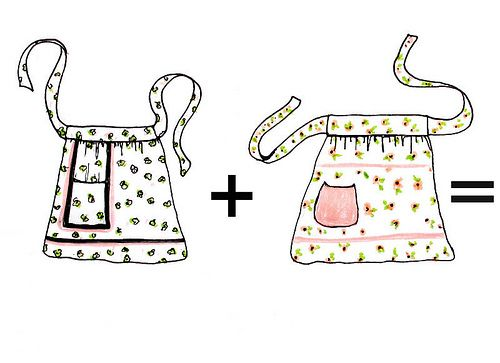 Tutorial for making blouse. Apron clipart half apron