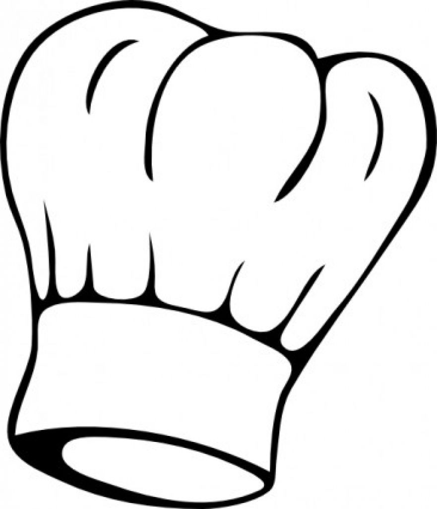 Chef hat black and. Apron clipart outline