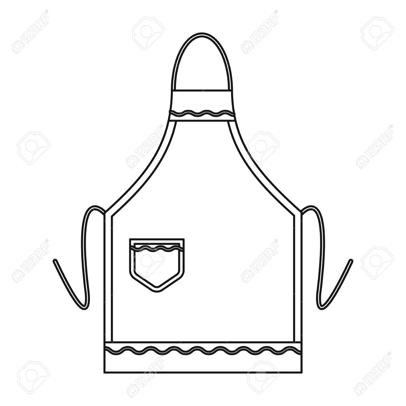 Icon in style isolated. Apron clipart outline