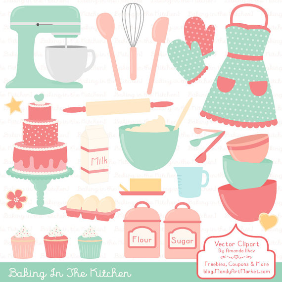 Professional vectors in mint. Baking clipart cooking baking