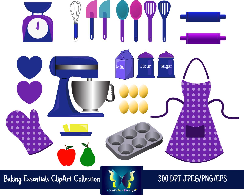 Apron clipart purple apron. Baking elements bakery essentials