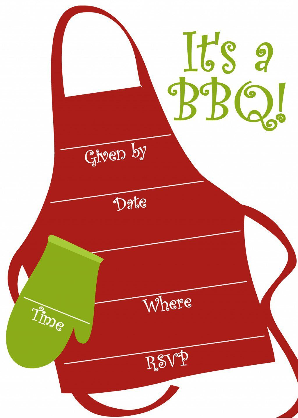 Apron clipart template. Free bbq party invitations