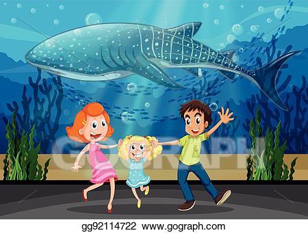 Aquarium clipart. Vector art family and