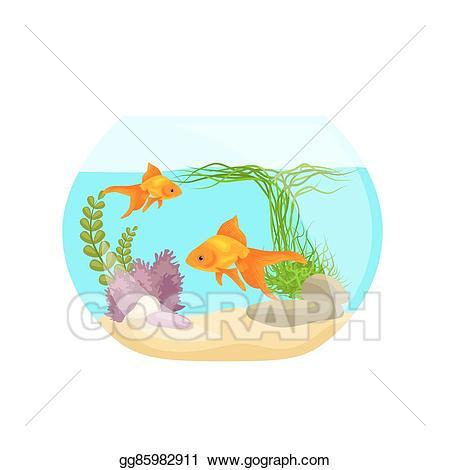 Aquarium clipart aquarium animal. Vector fish seaweed underwater