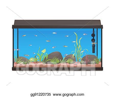 Vector with fishes stones. Aquarium clipart aquarium background