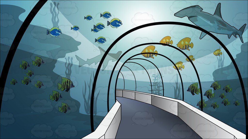 Tunnel through an . Aquarium clipart aquarium background