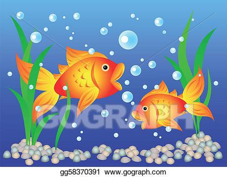 Vector art goldfish in. Aquarium clipart drawing