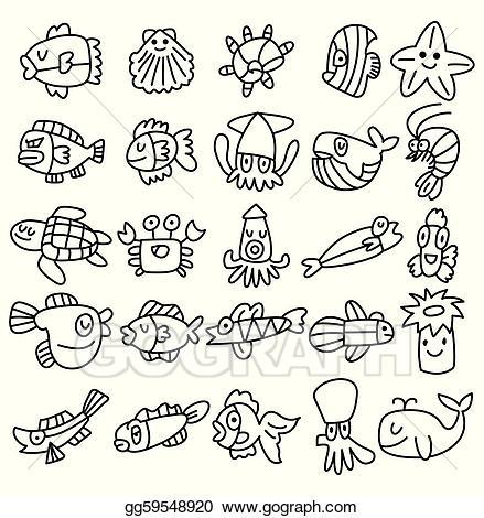 Aquarium clipart drawing. Vector art hand draw