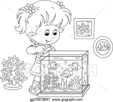 Vector art girl looking. Aquarium clipart drawing