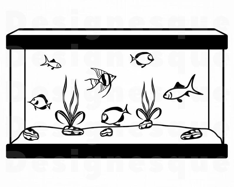 Aquarium clipart fish tank. Svg files for cricut