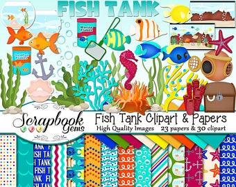 Etsy . Aquarium clipart handmade